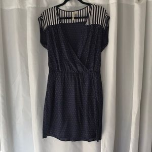 Petticoat Alley Dresses - Large navy dress with cream stripes & polka dots.